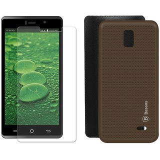 Mobik Brown Dotted Back Cover for LYF WATER 10 With Tempered Glass