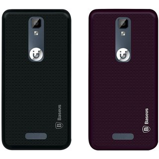 Mobik Black Dotted With Purple Dotted Back Cover for Gionee P7 - Soft Silicon