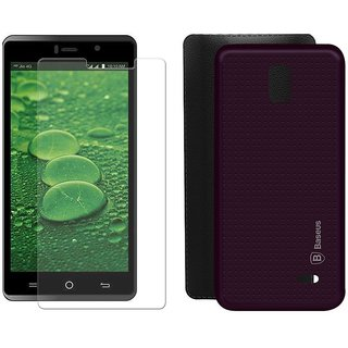 Mobik Purple Dotted Back Cover for LYF WATER 10 With Tempered Glass