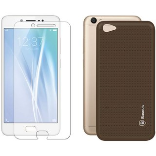 Mobik Tempered Glass for Vivo V5 With Brown Dotted Back Cover