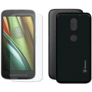 Mobik Tempered Glass for Motorola Moto E3 With Black Dotted Back Cover