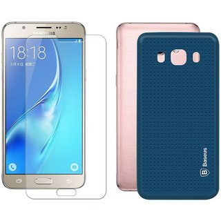 Deltakart Blue Dotted Back Cover for Samsung J5 (2016) With Tempered Glass