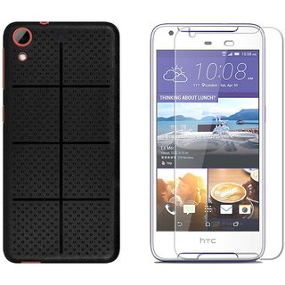 Mobik Black Dotted Cover for HTC Desire 628 With Tempered Glass