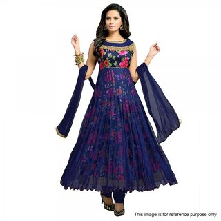 Bhagalpuri Silk Anarkali Suit (Semi-Stitched)  - Multicolor