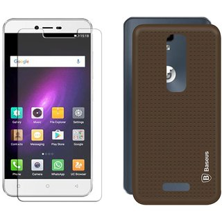 Deltakart Tempered Glass for Gionee P7 With Brown Dotted Back Cover