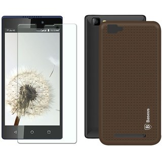 Mobik Brown Dotted Back Cover for LYF Wind 7 With Tempered Glass