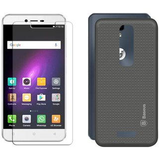 Deltakart Tempered Glass for Gionee P7 With Grey Dotted Back Cover