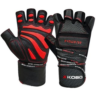 Kobo Professional Leather Gym Gloves For Fitness / Functional Training Hand Protector Top Quality (Small)