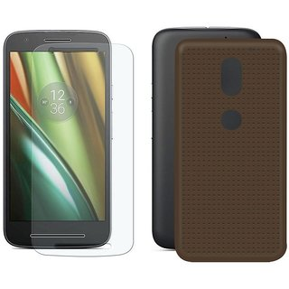 Deltakart Brown Dotted Back Cover for Motorola Moto E3 With Tempered Glass