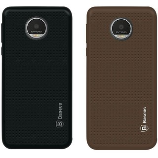 Deltakart Black Dotted With Brown Dotted Back Cover for Motorola Moto Z Play - Soft Silicon