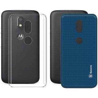 Deltakart Transparent and Blue Dotted Back Cover for Motorola Moto E3 Power  - Soft Silicon