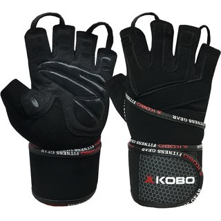 Kobo Professional Gym Gloves For Fitness / Functional Training Hand Protector with Wrist Support (Black) (Small)