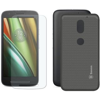 Deltakart Tempered Glass for Motorola Moto E3 Power  With Grey Dotted Back Cover