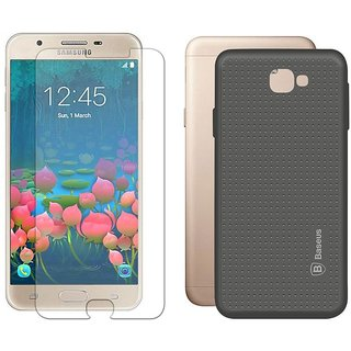Deltakart Tempered Glass for Samsung J5 Prime With Grey Dotted Back Cover