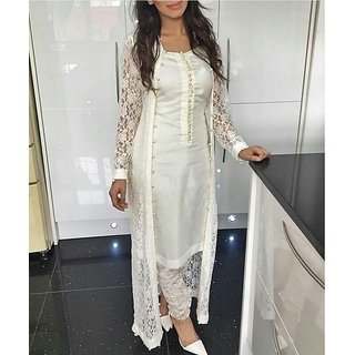 Leeps Prints White Rasal Net And Chanderi Cotton Moti Lace Work Dress Material Without Dupatta.