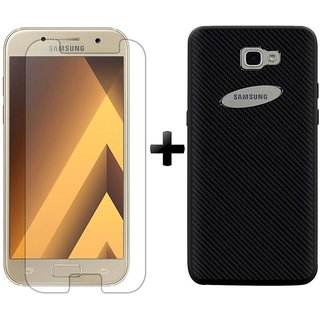 Deltakart Tempered Glass for Samsung Galaxy A5 (2017) With Carbon Fiber Black Back Cover