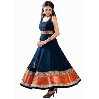 AIKA Blue Georgette Self Design Semi- Stitched Dress Material