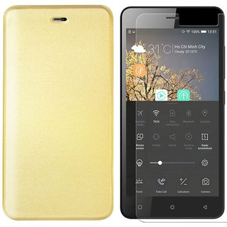 Deltakart Tempered Glass for Gionee P5W With Flip Cover -Golden