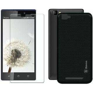 Deltakart Black Dotted Back Cover for LYF Wind 7 With Tempered Glass