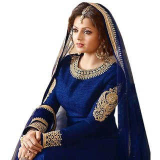 Active Heavy Banglori Silk Fabric Embroidery Dress Material For Women  Blue SSVI2181 (Unstitched)
