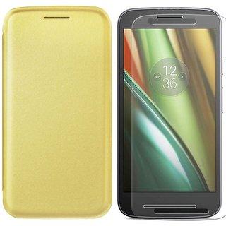 Deltakart Flip Cover for Motorola Moto E3 Power With Tempered Glass