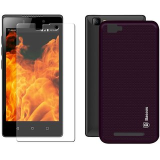 Deltakart Purple Dotted Back Cover for LYF Flame 8 With Tempered Glass