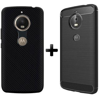 Mobik Carbon Fiber Back Cover For Motorola Moto E4 Plus With Armor Back Cover