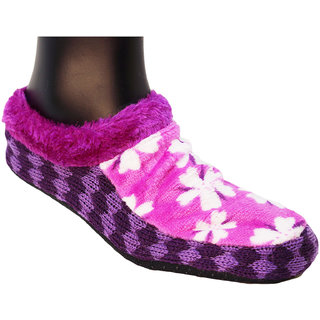 Neska Moda Premium Soft Cotton Women Purple Booties Cum Indoor Slippers BT144