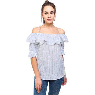 d275bb80c15abb Buy MansiCollections Stripped Ruffle Cold-Shoulder Top for Women ...