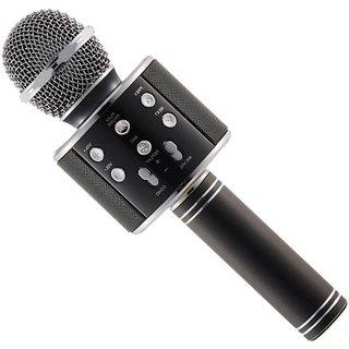 IBS WS-858 Wireless Bluetooth Portable Karaoke Singing Recording Mic Party Speaker KTV Black Microphone
