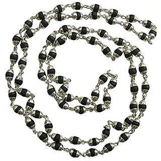 Black Tulsi Wooden japMala Silver Coated Black Tulsi Necklace