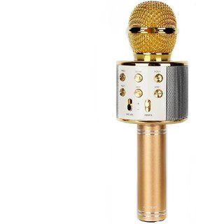IBS WS-858 Wireless Bluetooth Karaoke Portable Singing Recording Mic Party Speaker KTV Gold Microphone