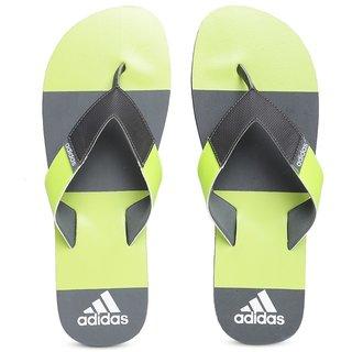 Adidas Men Grey Green Jaso Striped Flip-Flops
