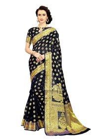 CRAZYDDEAL Black Banarasi Silk Woven Design Traditional saree With Blouse Piece