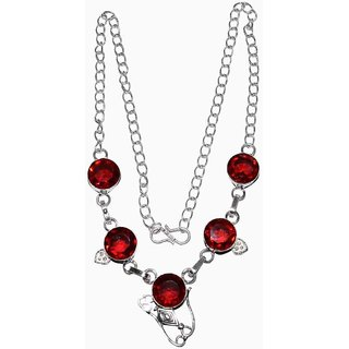 925 STERLING SILVER OVERLAY BEAUTIFUL ONYX GARNET NACKLACE FOR WOMEN