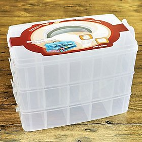 SYGA 3-Tray Transparent Plastic Organizer Storage Box/Basket/Container With Collapsible And Removable Dividers(31 X 19 X