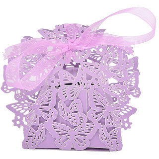 Futaba Butterfly Wedding Candy Box with Ribbon - Pack of Ten - Lavender