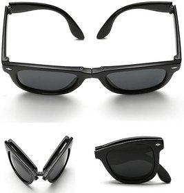 Austin Folding Black Uv Protection Wayfarer Unisex Sunglasses Au004