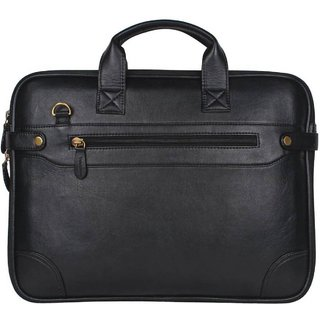 Deal Bugs 15.6 inch Synthetic Sleek Faux Leather Laptop and Tablet Bag Black Colour