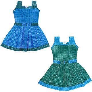 Flora Self Design Cotton  Dresses For Girls(combi)