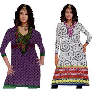 Combo Cotton long top KURTI meganta 2pc SIZE XL