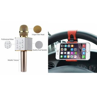 Mirza Q7 Microphone and Car Sterring Holder for XOLO Q1200(Q7 Mic and Karoke with bluetooth speaker | Car Sterring Holder, Car Minnor Holder, Mobile Holder )