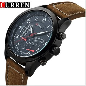 New Fashion Curren Branded Wristwatch Leather Strap Military wrist Watch