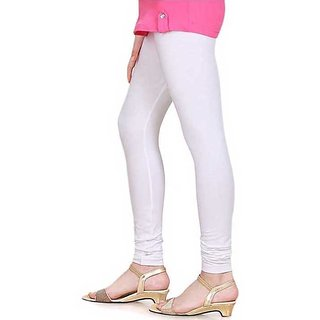 White Cotton Lycra Leggings