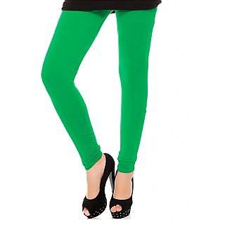 Leaf Green Cotton Lycra Leggings