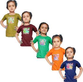 Jisha Fashion Girl'S Half Sleeves Crew Neck Top (Pack Of 5)