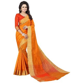 Taadrashya Polly Cotton Saree With Unstitched Blouse