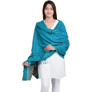 Anekaant Rama Green Viscose Jacquard Shawl (70X200 cm)