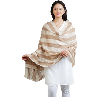 Anekaant Beige Striped Fine Wool Shawl (70X200 cm)