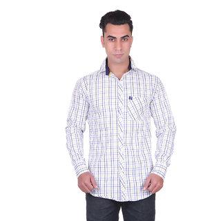 Cotblend Men's Blue Regular Collar Shirt